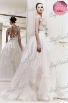 2013 New Arrival Round Neck Lace Pattern And Leaves See Through Top Ball Gown Taffeta Wedding Dress-in Wedding Dresses from Apparel  Accessories on Aliexpress.com $229.00
