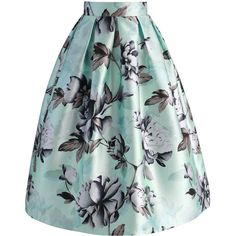 Chicwish Garden of Peony Printed Midi Skirt ($42) ❤ liked on Polyvore featuring skirts, blue, green skirt, mid calf skirts, print midi skirt, blue midi skirt and blue green skirt
