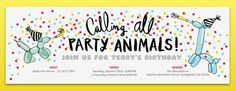 Party Animal Balloons Invitation