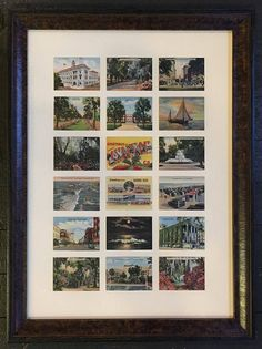 Our friends over at The Moog Gallery & Custom Framing recently custom framed an amazing collection of Savannah travel cards… They utilized a Tortoise finished frame from our Whitman collection to surround the collection of cards, which were floated in a grid. Each card was packed with 2ply to add a bit of depth, then they used spacers to protect the art from the glass. Brilliant design! | Larson-Juhl Custom Frames