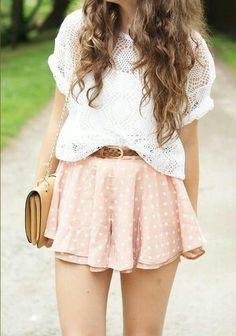 Teen fashion - pink and white polca dot skirt