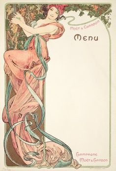 "Mucha, Alphonse Marie -- ""Moet & Chandon menu, 1899 "" -- High quality art prints, canvases, postcards -- Mucha Foundation Prints"