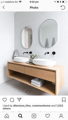 Minimalist bathroom design - ideas for stylish bathroom design Oak Bathroom, Bathroom Renos, Bathroom Inspo, Bathroom Renovations, Bathroom Faucets, Bathroom Inspiration, Small Bathroom, Bathroom Storage, Remodel Bathroom