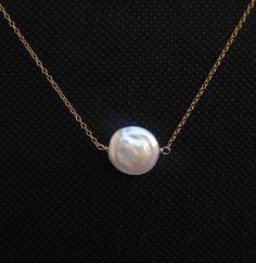 Freshwater Coin Pearl Necklace by DanglingJewelry on Etsy, $25.00