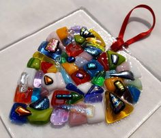 NEW 'Kaleidoscope' Hand-made Fused Glass Heart