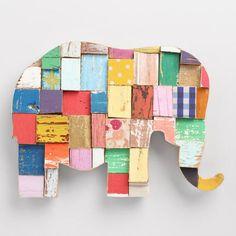 Elephant Multicolor Blocks Wall Decor - v1
