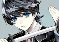 anime boy, blue eyes, and sword image