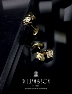 William & Son 18ct yellow gold diamond set cufflinks on T bar - AW13 William & Son Flagship Store