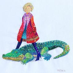 @kimikahara - Instagram:「crocodile & girl🐊🌺 #embroidery #embroideryart #embroiderydesign #embroideryillustration #modernembroidery #illustration #art #artwork…」 Embroidery Designs, Hand Embroidery Art, Modern Embroidery, Minis, Disney Characters, Fictional Characters, Aurora Sleeping Beauty, Textiles, Crocodile