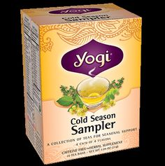 A blend of comforting Yogi cold season support teas, including Echinacea Immune Support, Cold Season, Breathe Deep and Throat Comfort.