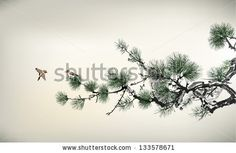 "BB Title: ""Pine Tree and Birds."" Description: ""This graceful illustration of a pine tree with birds has many details and muted tones."" - Vector / Main Cat - World / Sub - Asiana / Room Type - home office / living room / bedroom / bathroom / Retail Shops / health practices / waiting rooms / Lobbies"