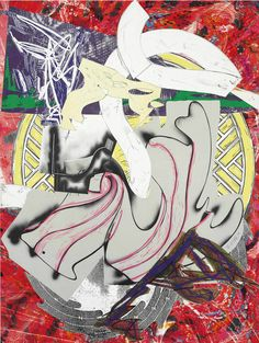 Signed Frank Stella Color screen print, lithograph and linocut with hand-coloring, marbling and collage., Ahab (From the Waves Series), 1988 at Masterworks Fine Art