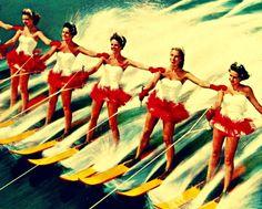 Vintage+Beach+Artwork | , WATER SKI GIRLS, beach art, 16x20 print, beach house decor, vintage ...
