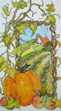 """A Bit of Harvest Storybook Cottage Series"" © Alida Akers"