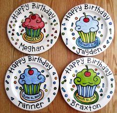 Handmade Artzfolk KILN FIRED Happy Birthday cherry cupcake personalized name Plate custom ceramic 10 Dot Painting, Ceramic Painting, Ceramic Art, Pottery Painting Designs, Pottery Art, Painted Ceramic Plates, Cherry Cupcakes, Personalized Name Plates, Color Me Mine