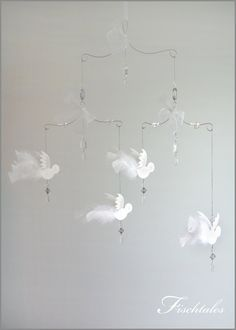 Sale Classic White Bird Mobile Baby Mobile by fischtaledesigns, $65.00
