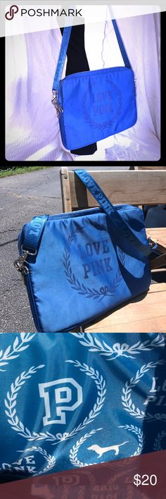Victoria's Secret Love PINK Laptop Tote Fashionable laptop tote with padding to keep everything safe! Royal blue in color it carries a 13 inch laptop. (14 1/2 x 10 3/4) Nice wide adjustable strap for custom fit and comfort. Gently used, missing one original zipper. PINK Bags Laptop Bags