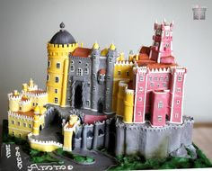 A Castle for the Queen of Silks - Pena National Palace in Sintra , Portugal - Cake by Anna Mathew Vadayatt