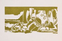 Lino cut/letterpress print insert for Walking Dead cassette set, released by Altar of Waste