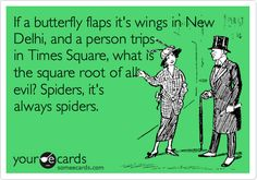 Funny : If a butterfly flaps it's wings in New Delhi, and a person trips in Times Square, what is the square root of all evil? Spiders, it's always spiders.