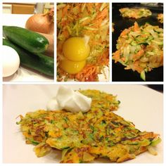 Healthy Sweet Potato Zucchini Latkes!   INGREDIENTS:  -2 whole eggs  -2 small zucchinis (peeled and grated)  -1 medium sweet potato (peeled and grated)  -1/2 onion (chopped)  -Coconut oil or PAM