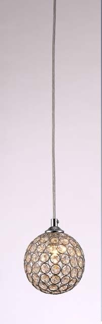 Pendente redondo cristal K9, Medidas: Diam 12cm, Material: Metal e cristal, Cor: Cromado e transparente