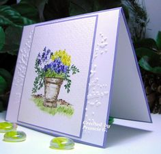 Art Impressions Ai Wonderful Watercolor.  Handmade water colored card with pot and flowers.