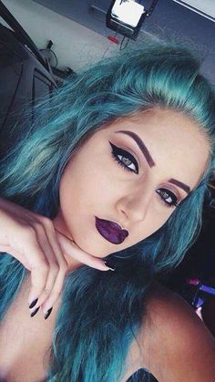 †♡❤ Gothic ❤♡†  Purple Violet Red Cherry Pink Bright Hair Colour Color Coloured Colored Fire Style curls haircut lilac lavender short long mermaid blue green teal orange hippy boho ombré   Pulp Riot