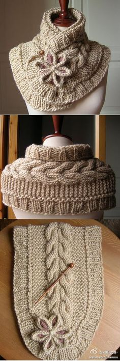 Beautiful knit neck warmer, no pattern but it could be easy to replicate.  The cable looks the same as the one used in Bella's Mittens.
