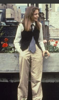 """""""Annie Hall"""" with Diane Keaton. Costume designer was Ruth Morley, but tie is by Ralph Loren and some of the style was Diane Keaton's own. (1977)"""