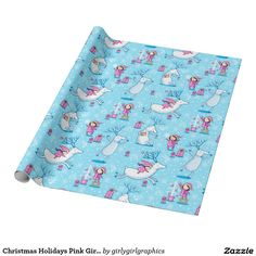 Christmas Holidays Pink Girl Blue Wrapping Paper