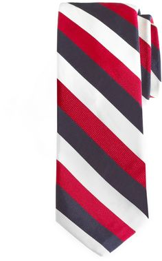 $125, White and Red Vertical Striped Tie: Brooks Brothers Black Fleece Triple Guard Stripe Tie. Sold by Brooks Brothers. Click for more info: https://lookastic.com/men/shop_items/25671/redirect
