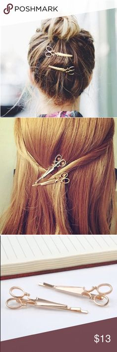 """Adorable Gold ✂️ Scissor ✂️ Hair Clips! (Set of 2) Set of two adorable gold plated scissor hair clips. Measures 2 1/2"""" long. Perfect hair piece for you and the perfect gift for the fab hairdresser in your life  Accessories Hair Accessories"""