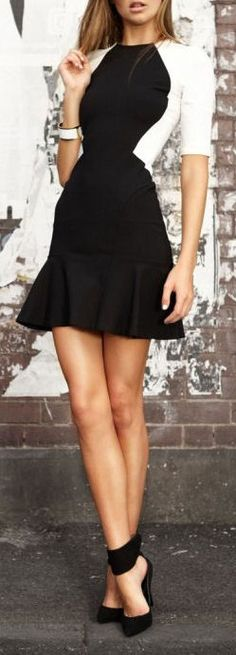 Black & White Ruffle Dress + Buckle-Up Pumps ♥
