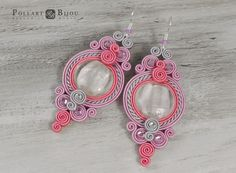 Soutache earrings Soutache bilateral Dangle earrings Boucles d'oreilles…