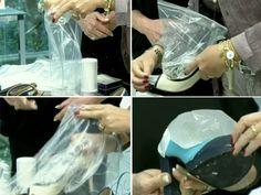 Veja o passo a passo para alargar os sapatos usando dois sacos de água e o congelador (Foto: Mais Você / TV Globo)