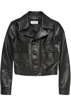Saint Laurent|Cropped leather jacket|NET-A-PORTER.COM