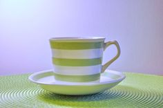 Your place to buy and sell all things handmade Pink Yellow, Aqua, Green Stripes, Cup And Saucer, Green Colors, Tablescapes, Ireland, Tea Cups, Conditioner