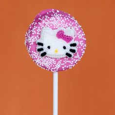 DIY hello kitty chocolate cookie pop. SO making these as party favors!