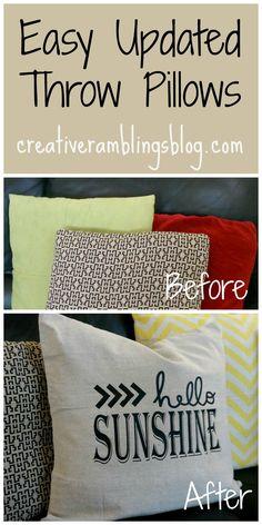 Easy updated throw pillows using Silhouette vinyl transfer // creativeramblingsblog.com