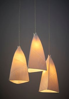 This chandelier lighting is hand made of slabs of porcelain. I use a technique which creates a pattern of texture. The texture is henhanced Hanging Light Fixtures, Kitchen Lighting Fixtures, Bar Lighting, Strip Lighting, Hanging Lights, Chandelier Lighting, Lighting Shades, Lighting Ideas, Lampe Crochet