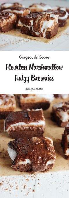 """Chocolate Marshmallow Brownies are a """"hot mess"""" but man are they a delicious mess! Rich chocolate flourless brownies, gooey chocolate topping, and perfectly fluffy marshmallows make these brownies the perfect summer treat. We think it is perfect anytime. Chocolate Lasagna Cake, Chocolate Fudge Sauce, Gooey Chocolate Chip Cookies, Chocolate Marshmallows, Chocolate Topping, Chocolate Treats, Marshmallow Brownies, Fudge Brownies, Cherry Crumb Cake Recipe"""