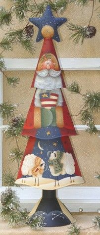 Americana Santa (#1049)--painted on a time Christmas tree. Pattern by Renee Mullins
