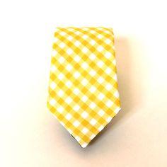 Men's Tie Yellow Gingham Yellow and White Check by HandmadeByEmy