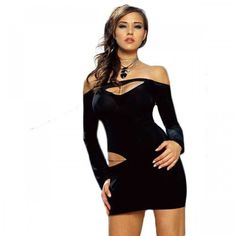Sexy Club Wear - Long Sleeve Cut Out Mini Dress With Chain - Black - Medium Sofishie, http://www.amazon.com/dp/B006WAQ2YK/ref=cm_sw_r_pi_dp_nE19qb0PCVKGW