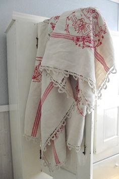 Vintage French country linen tablecloth hand embroidered and signed by the maker Vintage Tablecloths, Linen Tablecloth, French Decor, French Country Decorating, Red Cottage, Cottage Style, Linens And Lace, Vintage Textiles, French Vintage