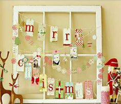Super Easy DIY Christmas Decor Ideas - Recycled Window  - Click Pic for 25 Christmas Craft Ideas