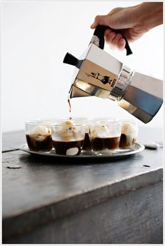 Affogato al Caffe - This Italian coffee-and-gelato concoction works as an after-dinner drink and a dessert. So good but I usually just end up using Ice cream not gelato. I Love Coffee, Coffee Break, My Coffee, Coffee Drinks, Coffee Shop, Coffee Dessert, Coffee Maker, Black Coffee, Morning Coffee