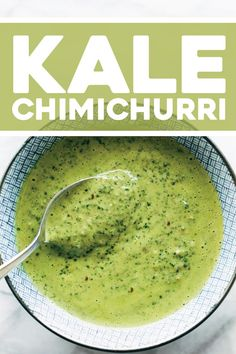Kale Chimichurri Lots of kale and green herbs olive oil and lime juice any nutsseeds you have on hand and a punch of garlic and red pepper flakes THE BEST Salmon Tacos, Homemade Sauce, Chimichurri, Red Peppers, Recipe Cards, Vegan Vegetarian, Vegetarian Sauces, Vegan Sauces, Lime Juice