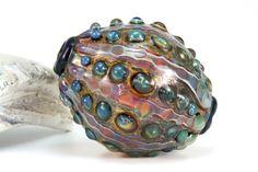 Lampwork glass blown boro sea urchin bead pendant by Lori Lochner Purple pink metallic blue gold